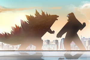 Godzilla Vs Kong Fight Minimal 5k Wallpaper