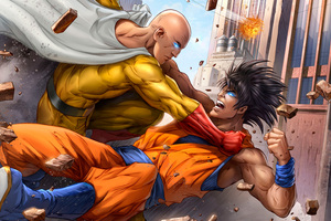 Goku And One Punch Man 5k Art