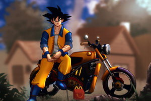 Goku Sitting On Bike Wallpaper