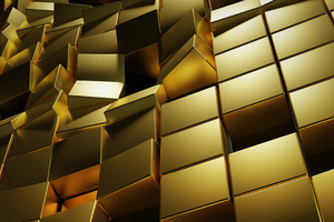 Gold 3d Cubes 4k Wallpaper