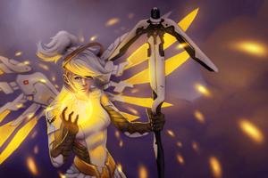 Gold Mercy Overwatch Fanart 5k Wallpaper