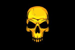 Gold Skull Dark Background 4k