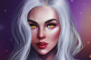 Golden Eyes Fantasy Girl Wallpaper
