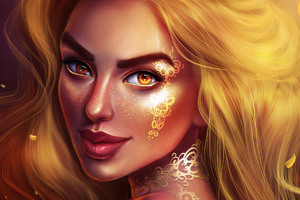 Golden Fantasy Girl Portrait