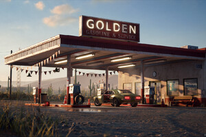 Golden Gasoline Desert Gas Station Wallpaper