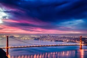 Golden Gate Bridge Sunset Night Time 4k Hd Wallpaper
