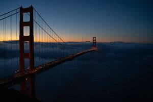 Golden Gate Covered In Fog 8k Wallpaper