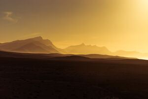 Golden Hour Orange Sunrise Mountains View
