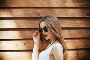 Gorgeous Girl Wearing Sunglasses Outdoors
