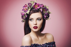 Gorgeous Girl With Flowers On His Head