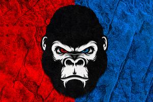 Gorilla Red Blue Minimal 5k Wallpaper