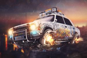 Graffiti Cyberpunk Car 4k Wallpaper
