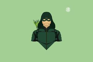 Green Arrow Minimalism 8k Wallpaper