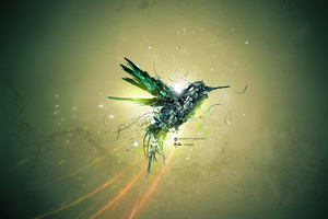 Green Bird Art Wallpaper