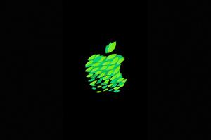 Green Black Apple Logo 4k Wallpaper