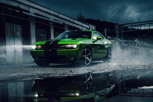 Green Dodge Challenger 4k Wallpaper