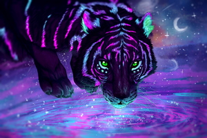 Green Eyes Night Reflection Tiger Artwork