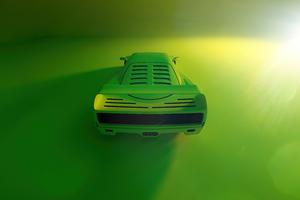 Green Ferrari F40 Rear Wallpaper