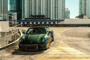 Green Gold Porsche 992TT 8k Wallpaper