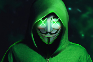 Green Hoodie Anonymus Mask 4k Wallpaper