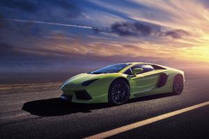 Green Lamborghini Aventador LP700