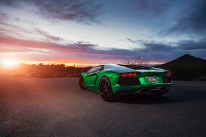 Green Lamborghini Aventador