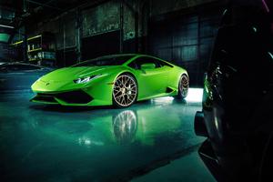 Green Lamborghini Huracan 4k 2020