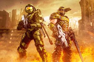 Green Men Halo Infinite 8k Wallpaper