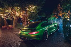 Green Mercedes AMG GT R Rear