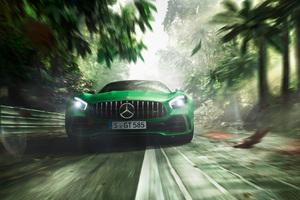 Green Mercedes Benz AMG GT R 2018