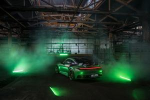 Green Porsche 992 Techart 4k