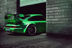 Green Porsche Rwb 4k