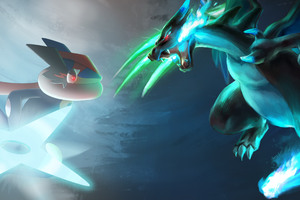 Greninjash vs Mega Charizard Wallpaper