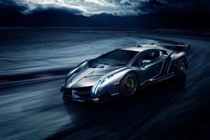 Grey Lamborghini Veneno In The Night