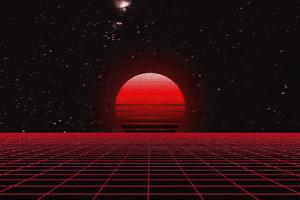 Grid Abstract Cgi Sunset 4k