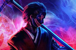 Grim Reaper Neon Guy 5k Wallpaper