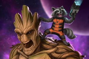 Groot And Rocket Raccoon Artwork 4k