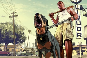 Gta 5 Franklin With Chop Rottweiler 8k Wallpaper