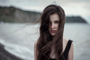 Hair In Face Sea Outdoors Wallpaper