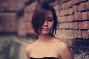 Hair Over One Eye Black Dress Girl 4k Wallpaper