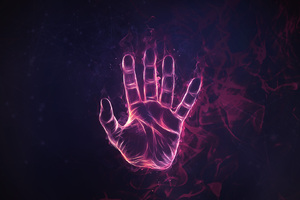 Hand Scan Blue Flames Digital Art Wallpaper