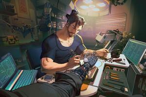 Hanzo Overwatch Scifi Arm Fixing 4k Wallpaper