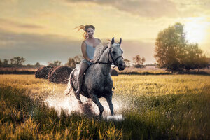 Happy Girl Riding Horse Wallpaper