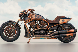 Harley Davidson Night Rider Steampunk 4k