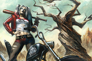 Harley Quinn Bike 4k Wallpaper