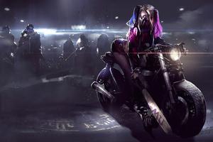 Harley Quinn On Bike 4k