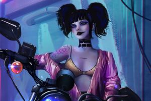Harley Quinn With Bike 5k Wallpaper