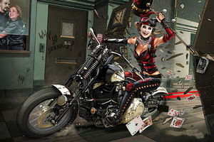 Harley Quinn With Bike Break Into Police Station Wallpaper