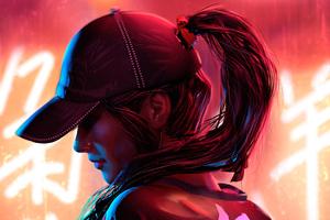 Hat Neon Girl 4k