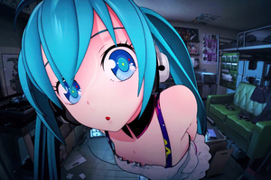 Hatsune Miku Closeup Big Eyes 4k Wallpaper